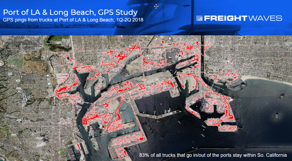 Heat map displaying GPS pings from trucks during the first half of 2018 at the Ports of Los Angeles and Long Beach. ( Map:   FreightWaves )