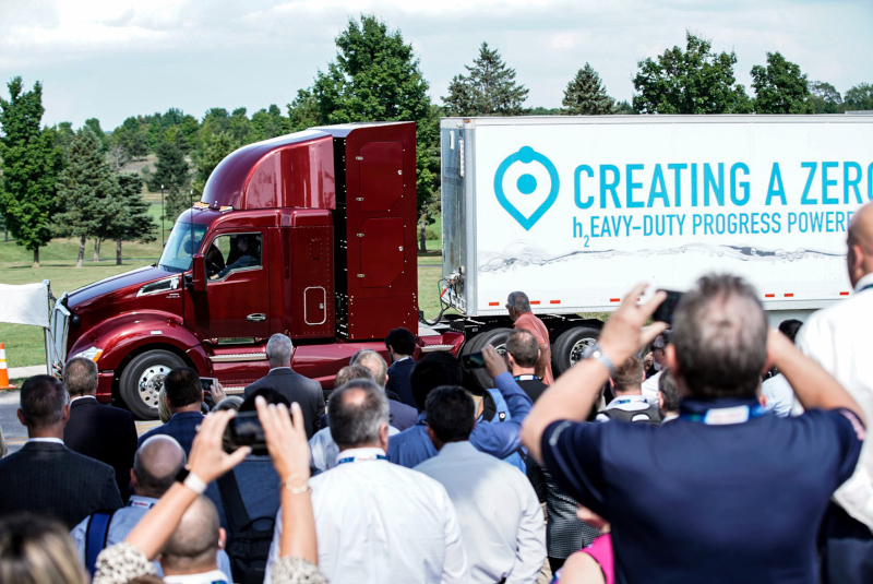 Media and visitors snap pictures of Toyota's Project Portal 2.0 Beta hydrogen fuel cell electric truck, introduced yesterday at an event in Michigan.