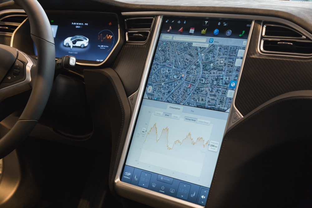 The interior of a Tesla Model S. ( Photo: Shutterstock )