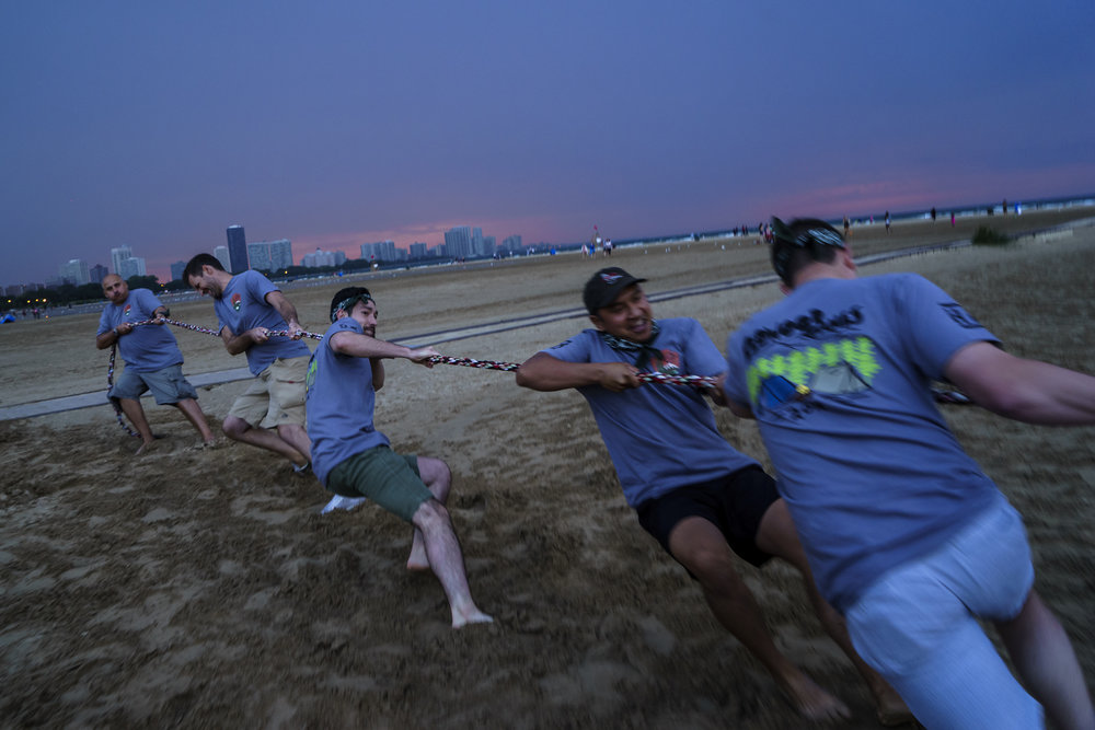 Redwood Logistics employees competing in tug-of-war. ( Photo: Redwood Logistics )