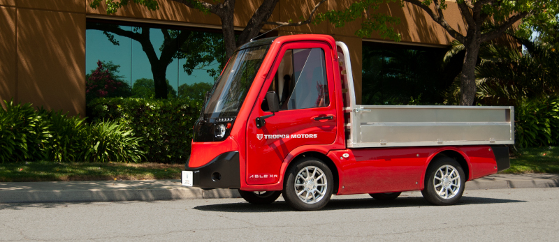 The Tropos ABLE XR offers an electric vehicle range of up to 160 miles and comes with a variety of body types, including flatbed and cargo van for last-mile operations.