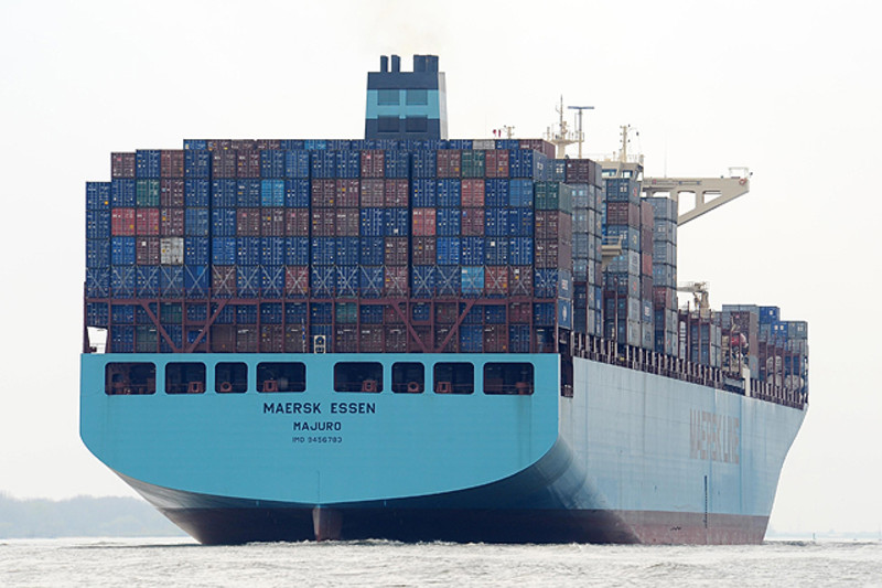 The Maersk Essen, one of the company's vessels on the trans-Pacific trade lane.