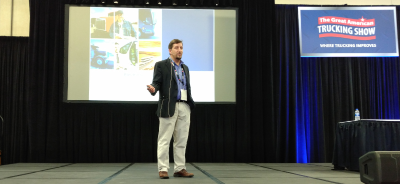 Joe DeLorenzo, director of the Office of Enforcement and Compliance for FMCSA, goes through some of the common problems the agency is seeing since the ELD mandate went into effect during a session at the Great American Trucking Show in Dallas last week.