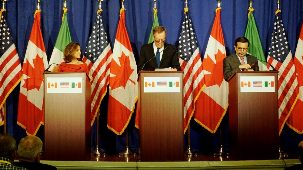 Canadian Foreign Minister Chrystia Freeland, U.S. Trade Representative Robert Lighthizer and Mexican Minister of Economy Ildefonso Guajardo in a 2017 round of Nafta talks (Photo: State Department)
