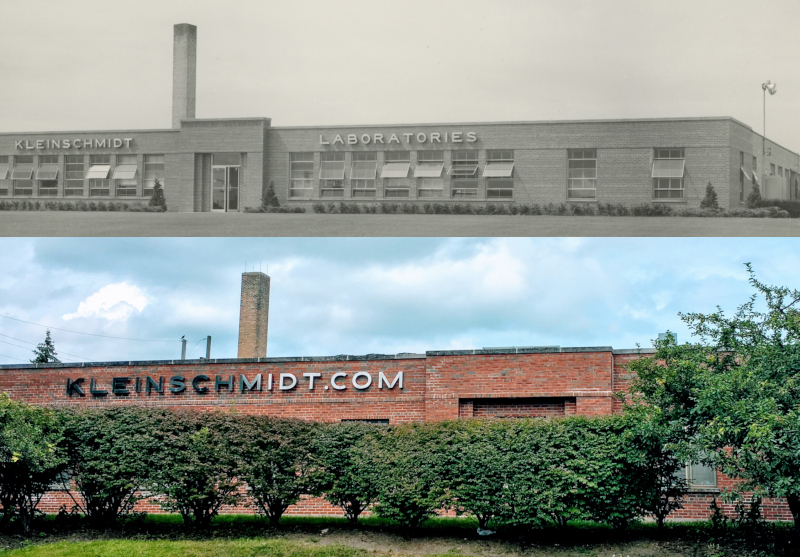 Kleinschmidt still operates out of its original headquarters in Deerfield, IL. Above, the building as it looked in 1950, and what it looks like today.