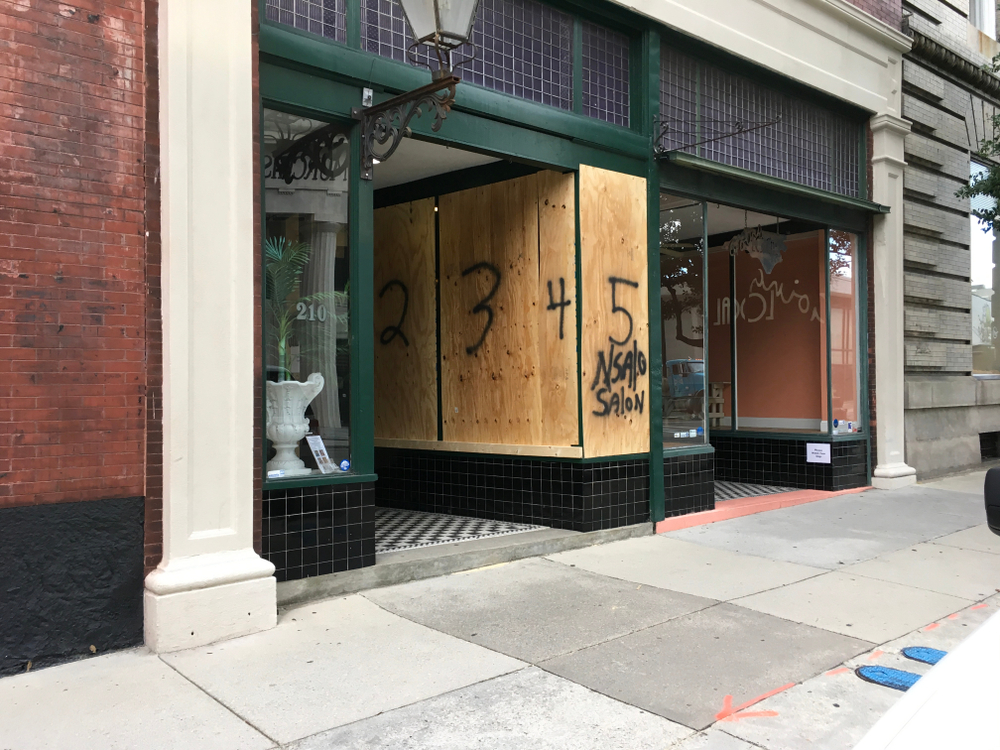 Businesses in Wilmington, North Carolina have begun boarding up their storefronts in preparation for Hurricane Florence ( Image: Shutterstock ).