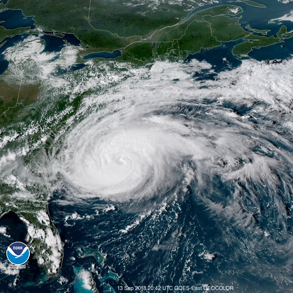 Satellite imagery of Florence bearing down on Carolinas (Photo: NOAA)