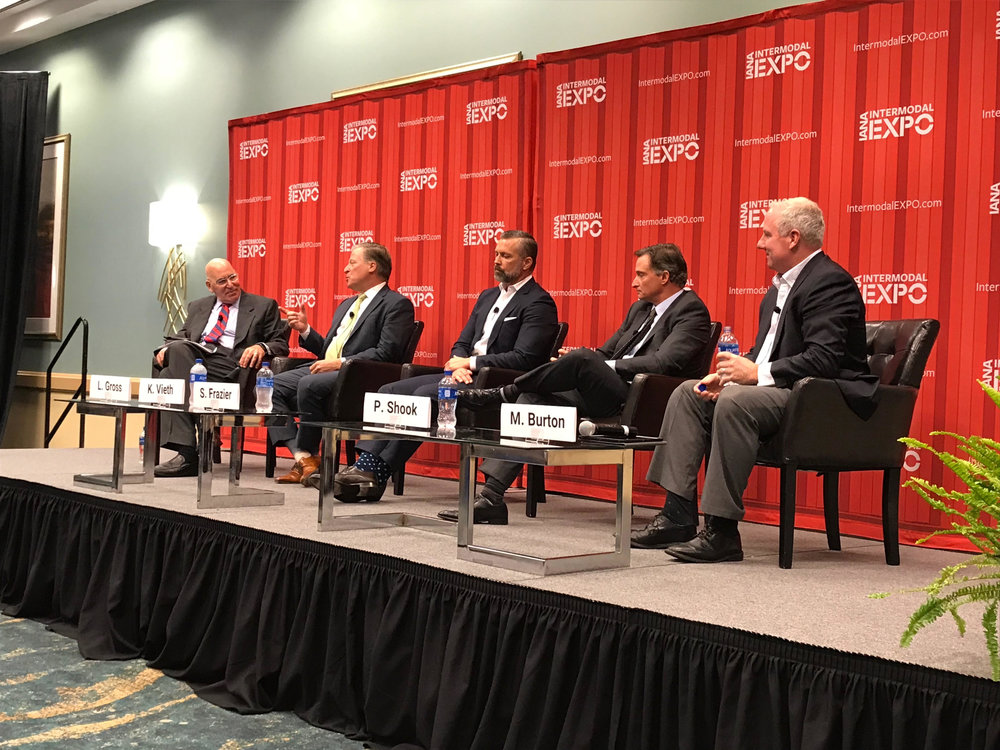 From left to right: Larry Gross, moderator (Gross Consulting); Kenneth Vieth (ACT); Spencer Frazier (J.B. Hunt); Phil Shook (C.H. Robinson); Mike Burton (C&K Holdings)