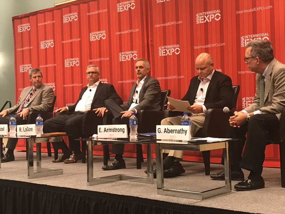 From left to right: Tom Sanderson, executive chairman, Transplace; David Menzel, President and COO, Echo Global Logistics; Rick LaGore, CEO, Intek Freight & Logistics; Evan Armstrong, President, Armstrong & Associates; George Abernathy, Chief Revenue Officer, FreightWaves