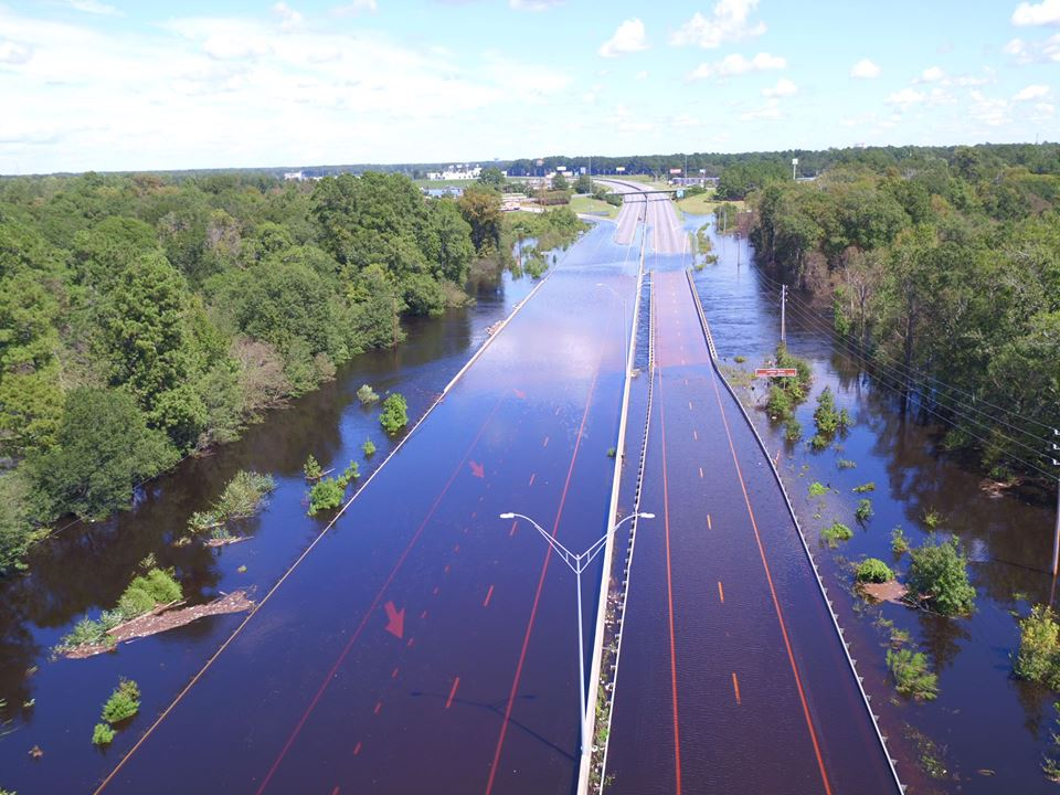 FLOODING ON SEPT. 19, 2018 ACROSS I-95 NEAR LUMBERTON, NC  (Photo: NC DEPT. OF TRANSPORTATION)