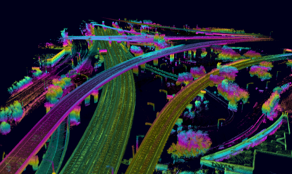 A visualization of lidar data—the primary technical formula for autonomous driving—from the Interstate 101-380 interchange south of San Francisco.  (Photo: Ike)