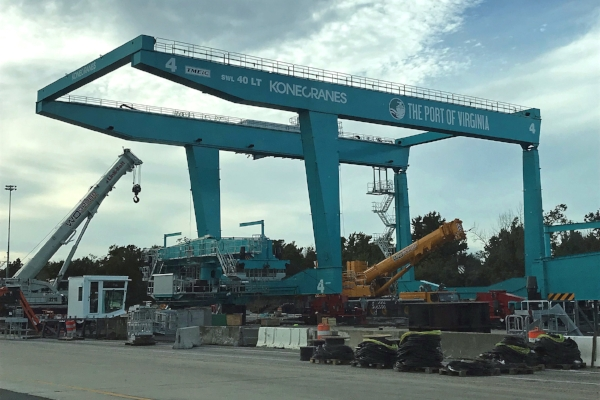Crane being erected at Virginia International Gateway. This crane will be used in VIG's expanded rail operation. (Photo: Virginia Port Authority)