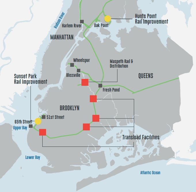 This map from FreightNYC shows the locations of projects where developers are sought at Sunset Park and Hunts Point, as well as possible points for transloading of additional rail traffic on to trucks.
