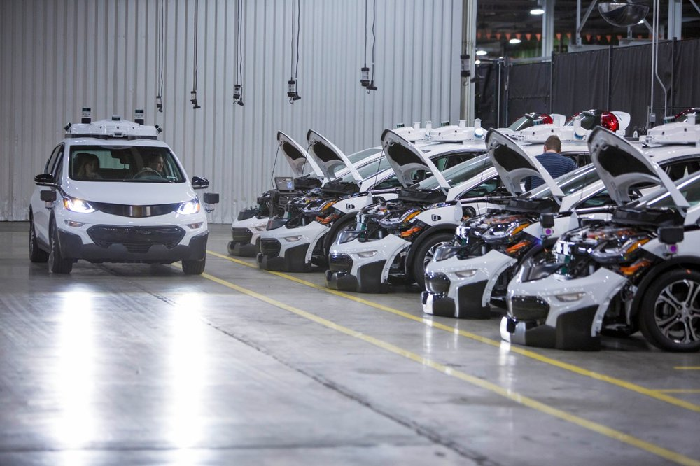 Autonomous Chevy Bolt EVs being assembled in Orion Township, Michigan. ( Photo: General Motors )