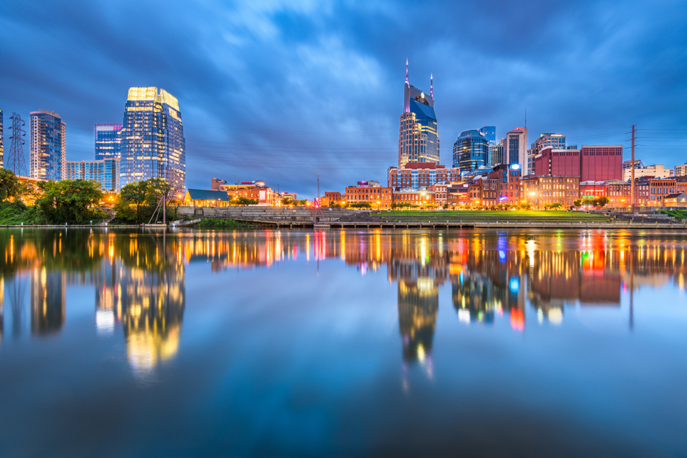 Nashville, Tennessee, USA downtown cityscape at dusk.    (Photo: Shutterstock)