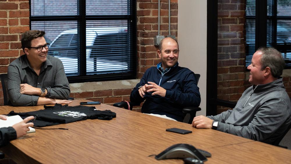 Left to right: Rush Feldhacker, Heath Haley, and Carter Garrett. ( Photo: Josh Roden / FreightWaves )
