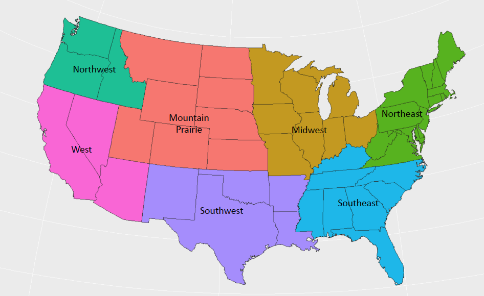 Trucking freight regions.  (Source: FreightWaves)