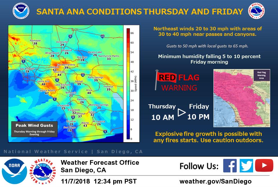 Southern California high wind risk areas.  (Photo: NOAA)