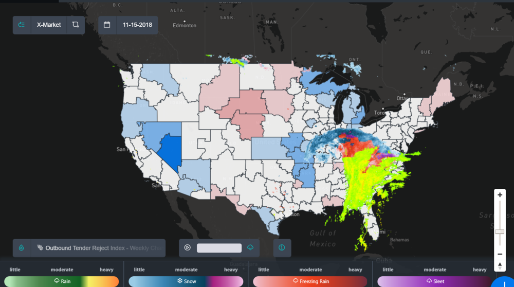 Image: SONAR map with a radar image of the weather overlaid on top of a map of the outbound tender rejection index weekly change for the U.S.