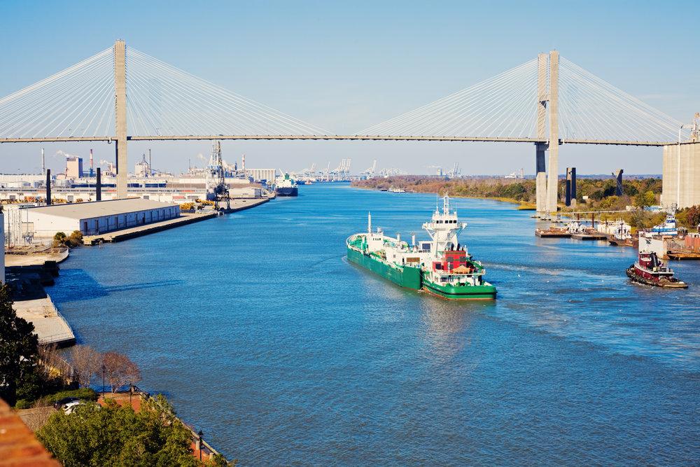 A vessel enters the Port of Savannah under the Talmadge Bridge (Photo: Shutterstock)