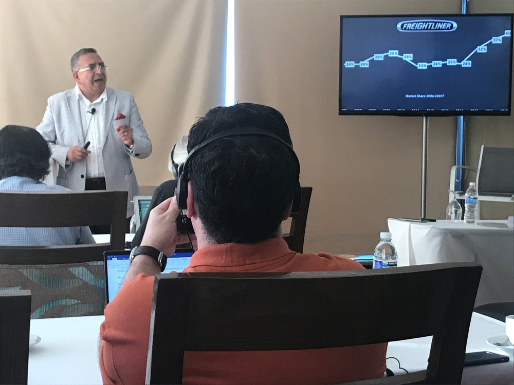 Flavio Rivera, president of Daimler Mexico, speaking at a press event in Puerto Vallarta last week. ( Photo: Linda Baker )