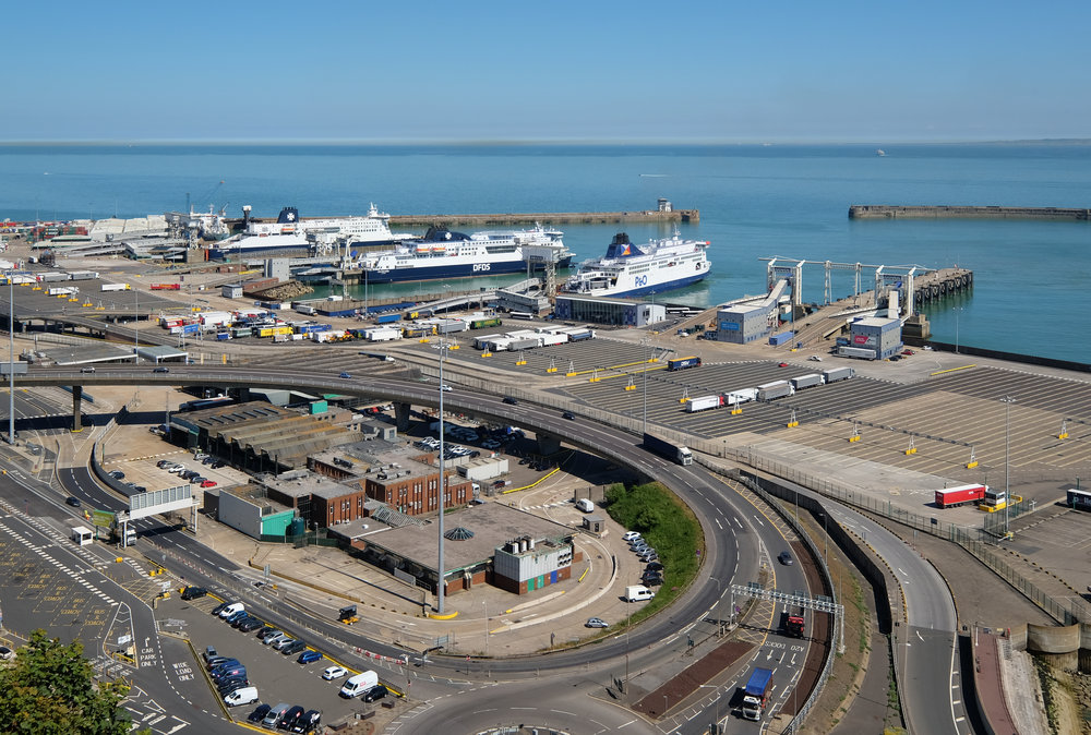 Dover's port handles close to 20% of the UK's import and export cargo, by value. Credit: DeFacto - Own work, CC BY-SA 4.0, https://commons.wikimedia.org/w/index.php?curid=71471831