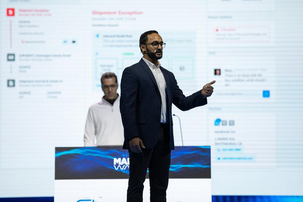 Slync co-founder and CPO Raj Patel demos the platform. ( Photo: FreightWaves staff )