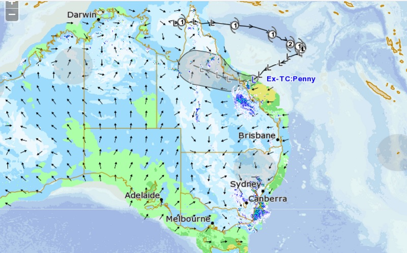 Coming back for more: unsatisfied with having drenched the very far northern tip of Australia, ex-Tropical Cyclone Penny has done a U-Turn in the Coral Sea and is heading back to Queensland. Trucking operations are likely to be hampered by rain, strong winds and local flooding. (Graphic: Bureau of Meteorology and MetEye).
