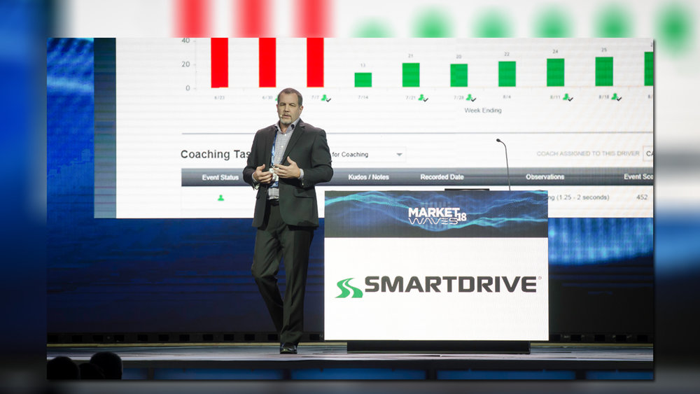 Dan Jackson, director of sales for SmartDrive, pitches the company's product to audience members at FreightWaves' MarketWaves 18 event in Dallas in November 2018. ( Photo: Jim Allen/FreightWaves )