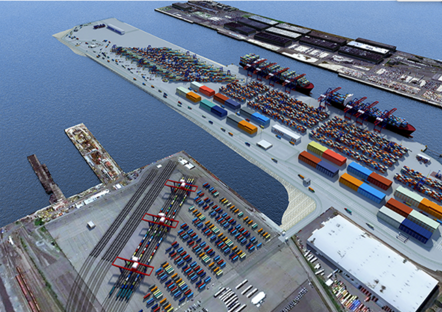 Artist rendering of the Port Jersey intermodal facility in lower left corner (Source: Port Authority NY & NJ)
