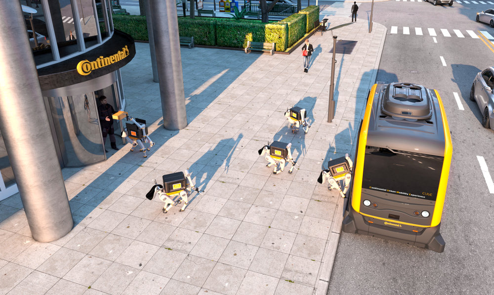 Continental has unveiled a driverless vehicle that can carry packages as well as RoboDogs - small delivery robots that can climb stairs and even ring doorbells. ( Photo: Continental )