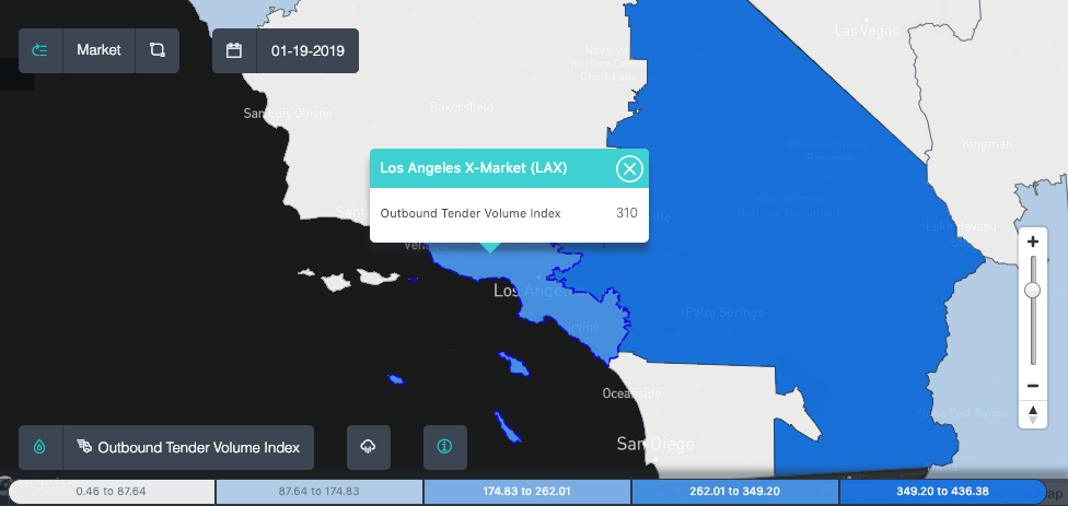 The number of outbound tender volumes remains elevated in the Los Angeles market ( Source: SONAR )