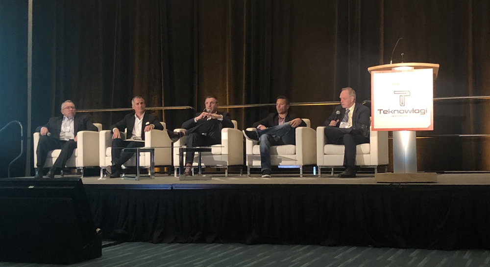 From l to r: Dean Croke, FreightWaves; Devlin Fenton, Go99; Scott Shannon, C.H. Robinson; Spencer Askew, Teknowlogi ; John Kingston, FreightWaves