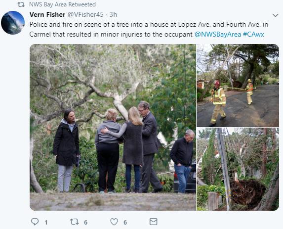Wind damage in Carmel, California on February 13, 2019.