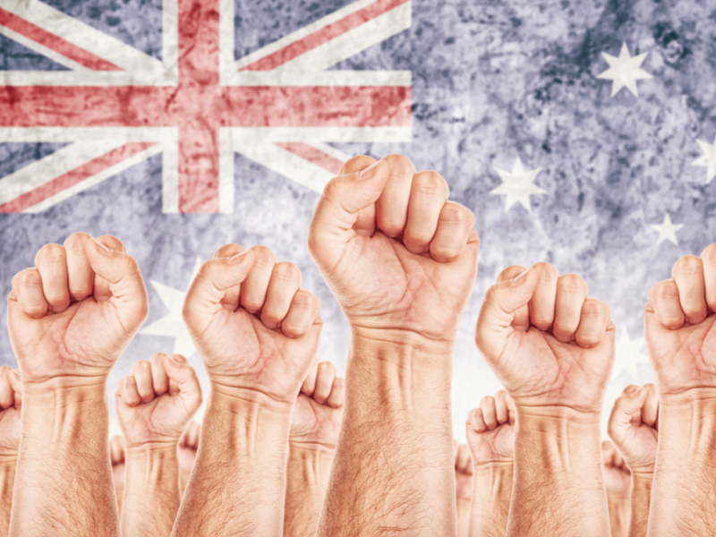 Australia flag raised fist labor labour movement union - stock - credit shutterstock_243450754.jpg