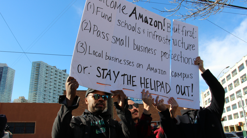Amazon Protests outside potential headquarters HQ2 building in LIC New York (PHOTO: SHUTTERSTOCK)