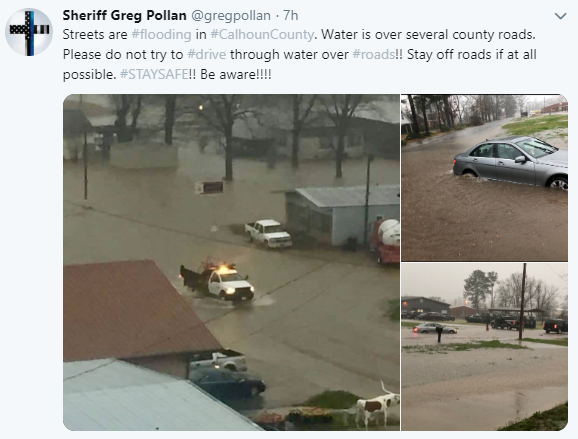 Flooding in Mississippi on February 20, 2019.