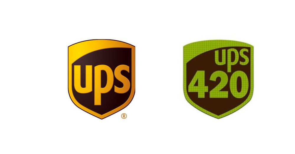 The UPS shield on the left, and the shield being used by defendants in a lawsuit UPS filed.