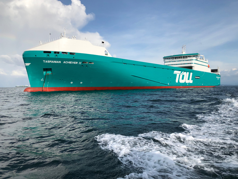 Pictured: the Tasmanian Achiever II, one of global logistic giant Toll's two new ro-ro vessels for the Bass Strait trade.  Photo: supplied by Toll.
