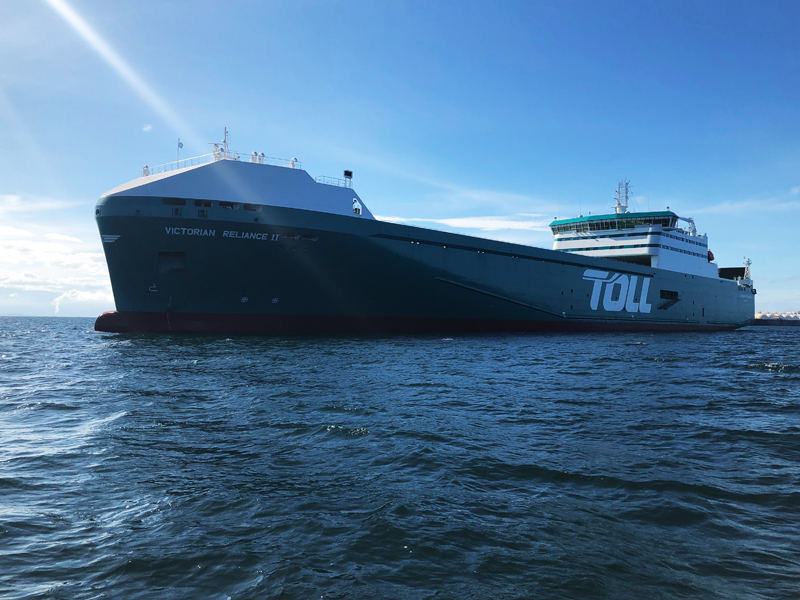 Pictured: Toll's other shiny new ror-ro for the Bass Strait trade, the Victorian Reliance II. Photo: supplied by Toll.