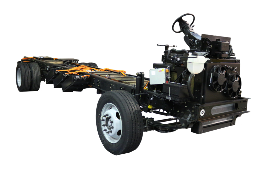 The Motiv EPIC all-electric chassis will be installed on Ford F-59 glider chassis at a Detroit Custom Chassis plant. Doing this will reduce costs and delivery times, Motiv said. ( Photo: Motiv )
