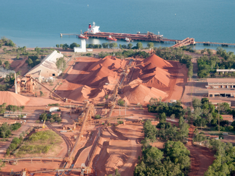Pictured: a bauxite handling, storage and export facility in northern Australia; Photo: Shutterstock