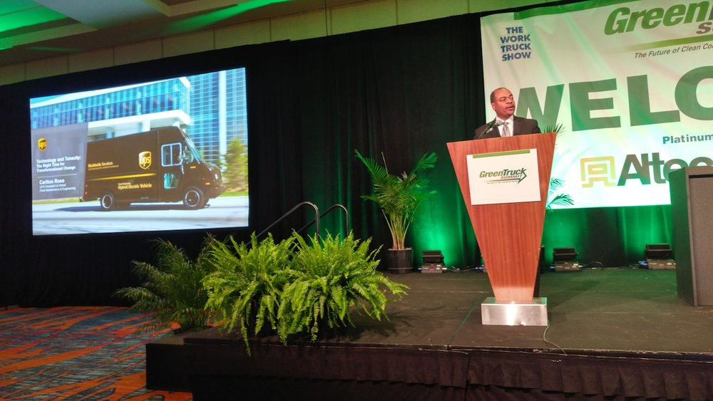 UPS' Carlton Rose, president of global fleet maintenance and engineering, said he expects electric power to be the long-term solution in medium-duty, but it isn't there just yet. ( Photo: Brian Straight/FreightWaves )