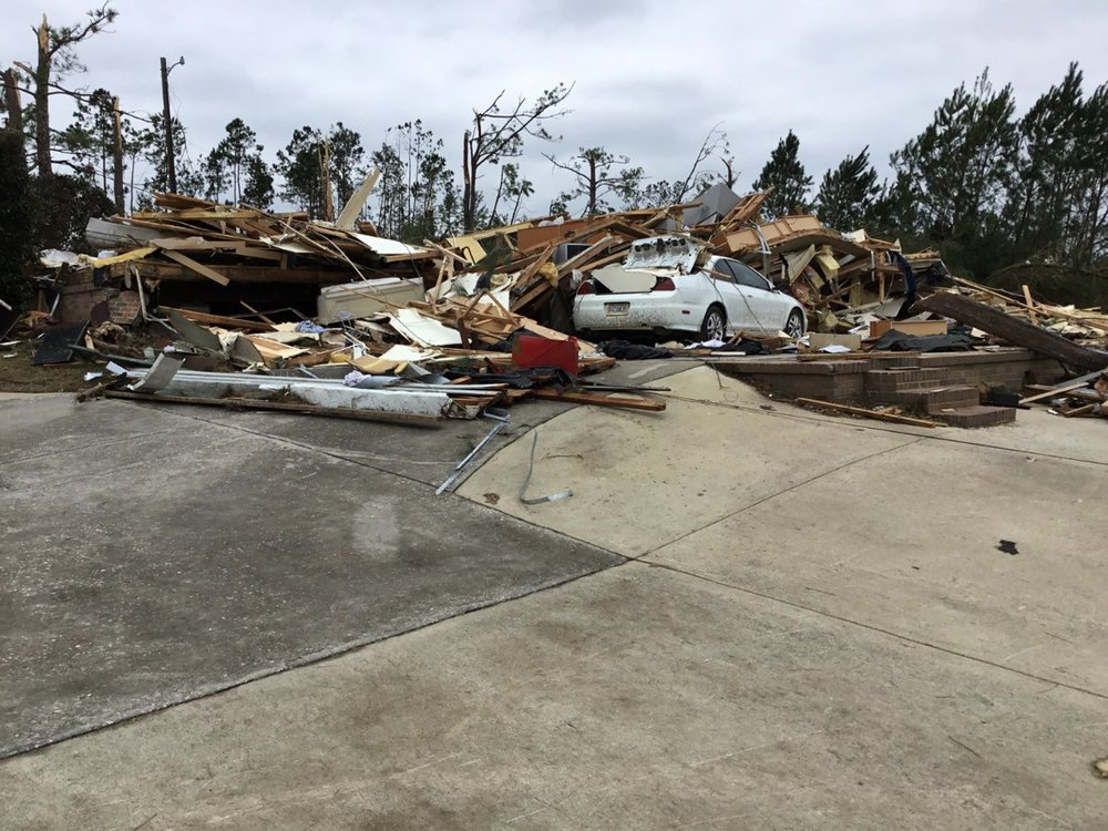 Tornado damage just south of Beauregard, Alabama on Sunday, March 3, 2019.  (Photo: National Weather Service - Birmingham)