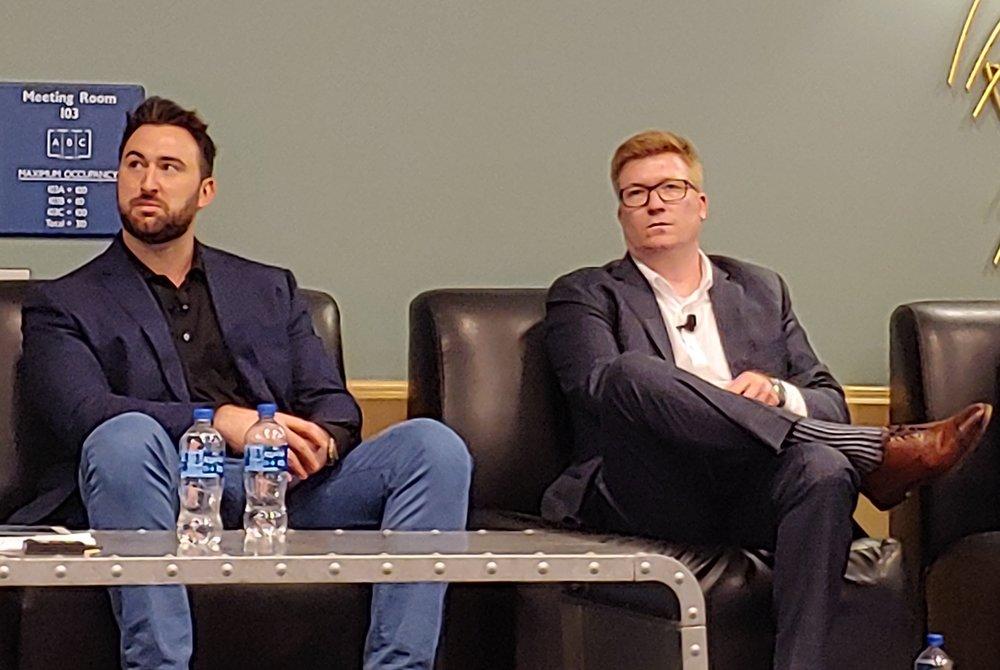 Left to right, Matt Pyatt of Arrive Logistics and Mark Ford of BlueGrace Logistics