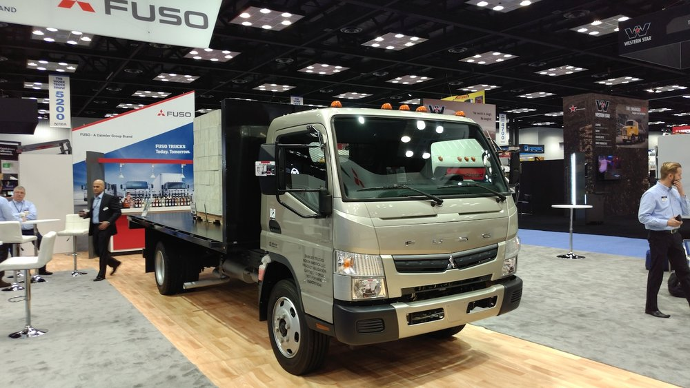 Mitsubishi Fuso said that customers are demanding more gasoline models in medium-duty operations, so it is delivering with this Class 5 gas-powered cabover. ( Photo: Brian Straight/FreightWaves )