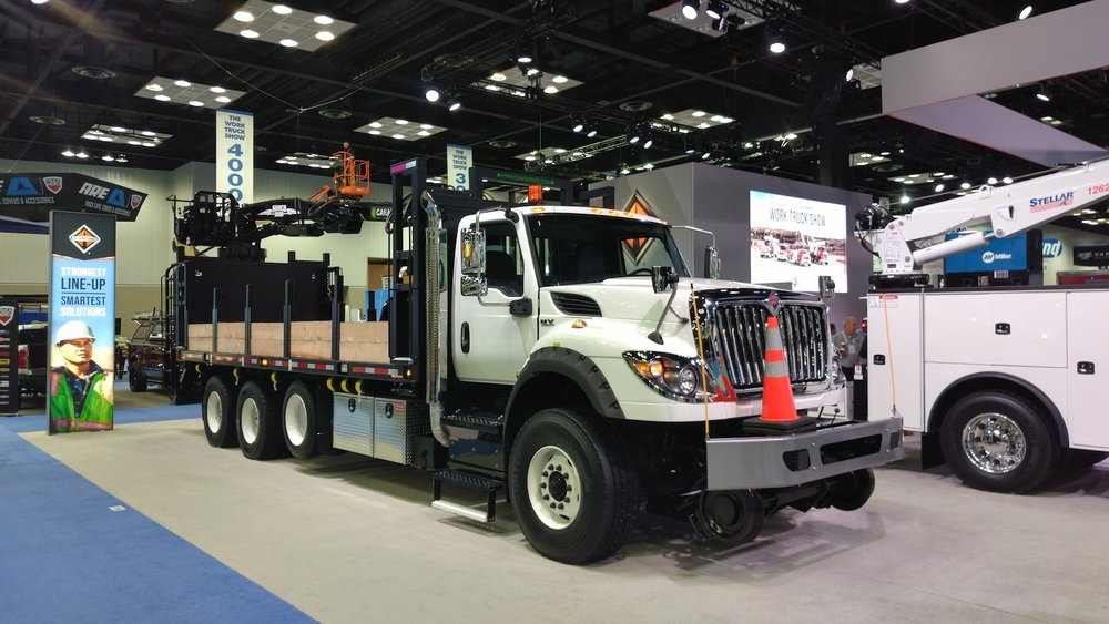 International has rolled out a new program for truck equipment manufacturers to make it easier for upfitters to customize trucks for customers, like this HV Series in railrider configuration. ( Photo: Brian Straight/FreightWaves )