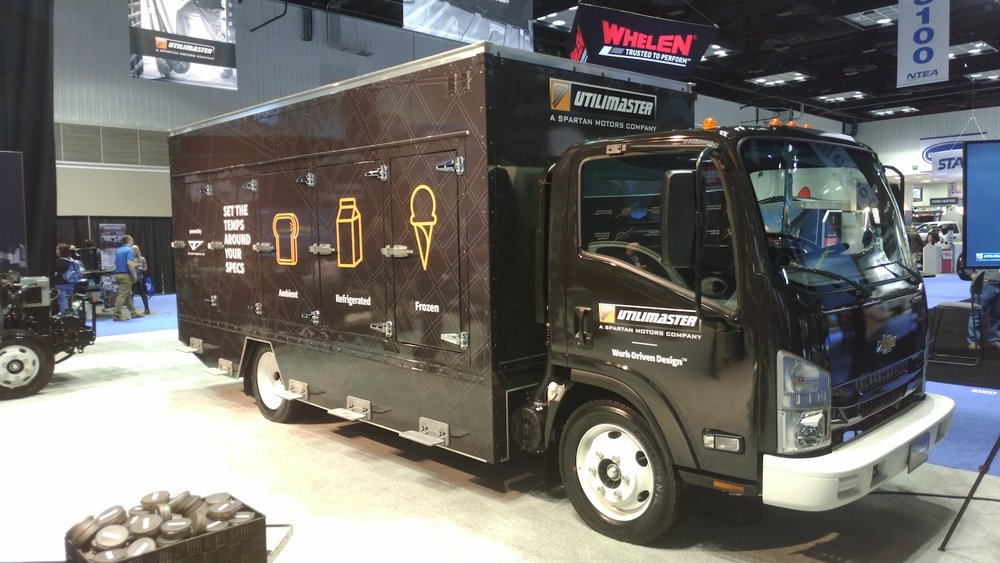 Utilimaster has unveiled a new customizable cargo box for last-mile delivery. The box has separate compartments that can be individually temperature controlled. ( Photo: Brian Straight/FreightWaves )
