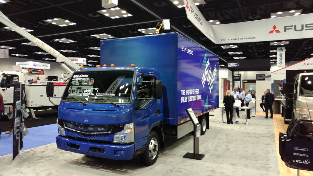 Electric trucks like this MItsubishi Fuso eCanter dominated the vehicle conversations at this week's Work Truck Show in Indianapolis. ( Photo: Brian Straight/FreightWaves )