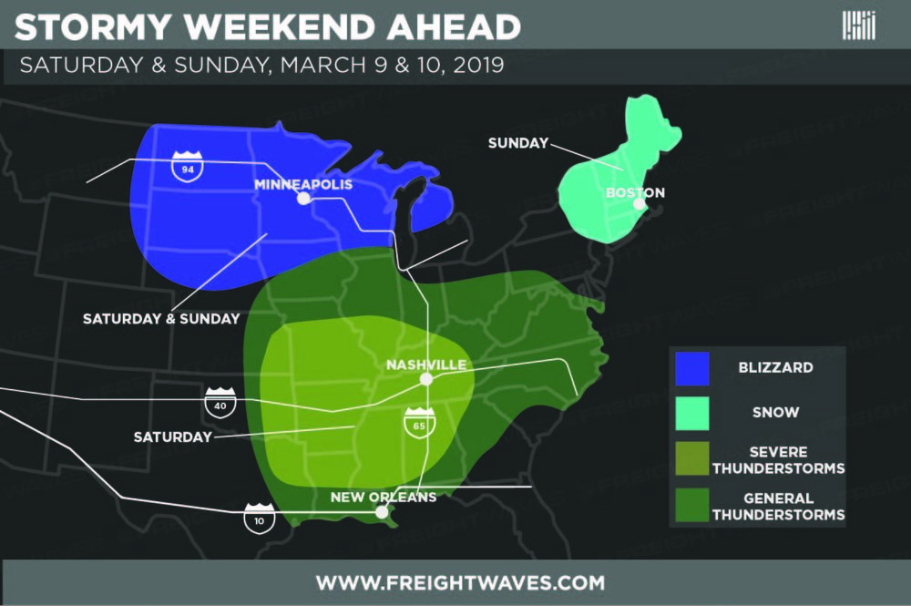 Estimation of high-impact weather regions this weekend.